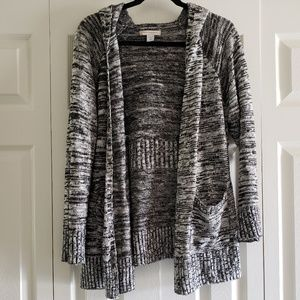 Charcoal & White Heathered Open Hooded Cardigan L